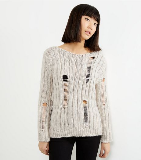 Loving This Cream Ribbed Ladder Knit Jumper | New Look