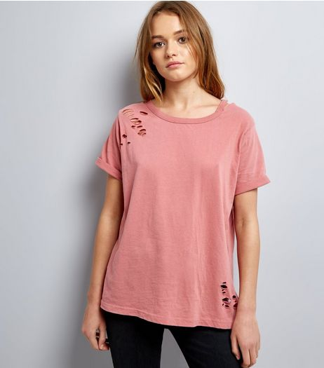 Tall Deep Pink Ripped Cut Out Neck T-Shirt | New Look