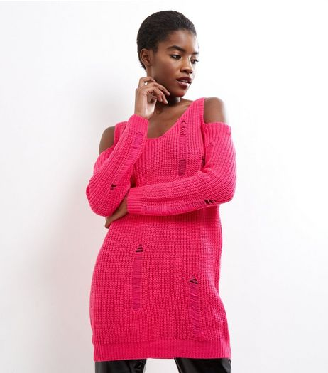 Cameo Rose Pink Cold Shoulder Ladder Knit Jumper | New Look
