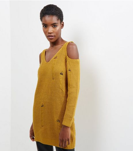 Cameo Rose Yellow Cold Shoulder Ladder Knit Jumper | New Look