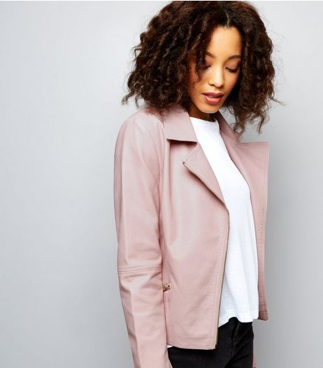 Tall Pink Leather-Look Biker Jacket | New Look