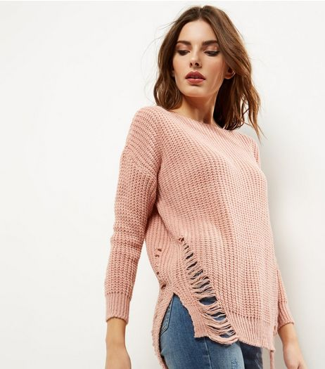 Cameo Rose Pink Ladder Hem Jumper | New Look