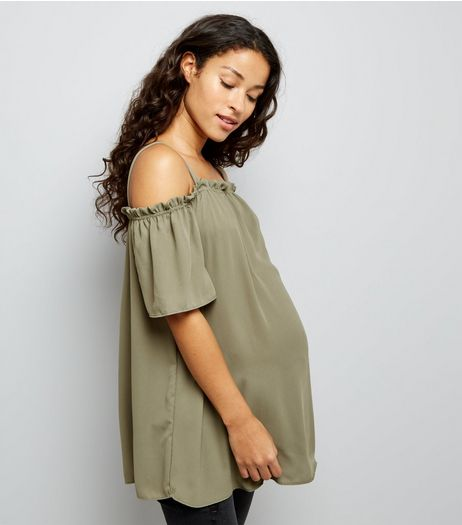 Maternity Khaki Frill Trim Bardot Top | New Look