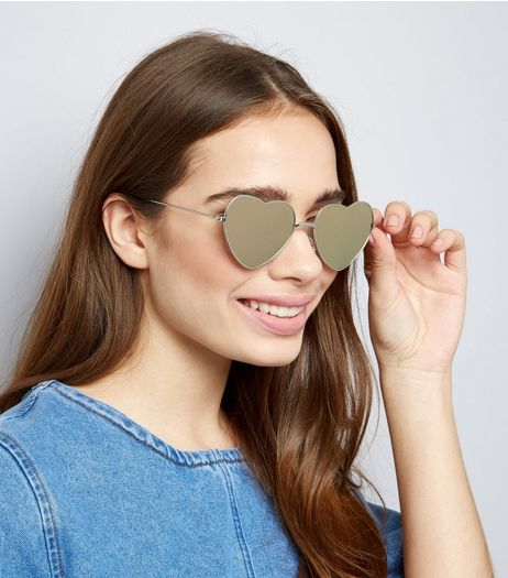 Silver Mirror Heart Lens Sunglasses | New Look