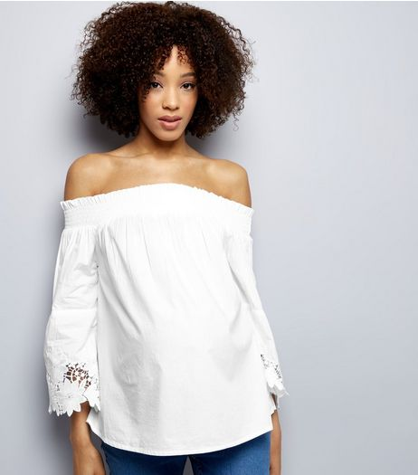 Maternity White Bardot Neck Lace Trim Bell Sleeve Top  | New Look