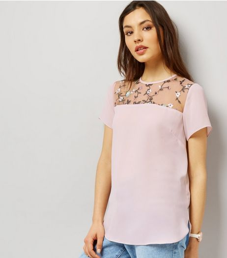 Shell Pink Floral Embroidered Mesh Yoke T-Shirt | New Look