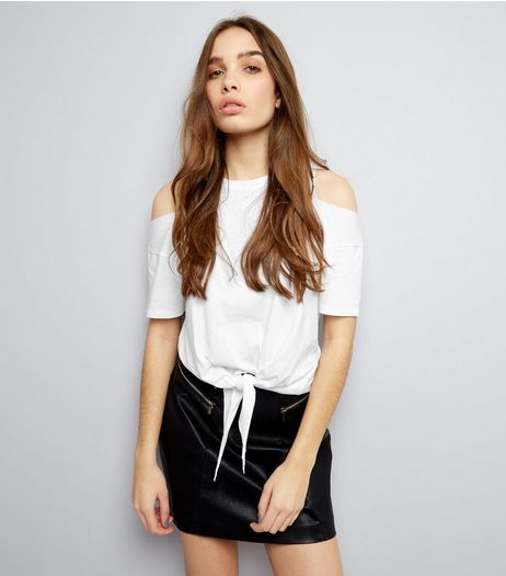 White Cold Shoulder Short Sleeve Tie Front Top  | New Look
