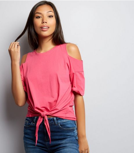 Pink Cold Shoulder Tie Front T-Shirt | New Look