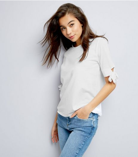White 1/2 Tie Sleeve T-Shirt  | New Look