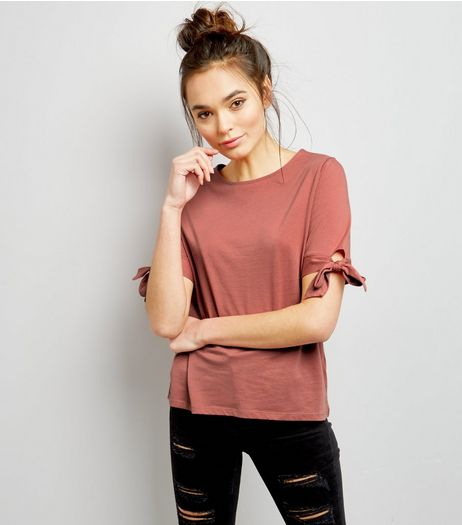 Pink Tie Sleeve T-Shirt | New Look
