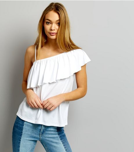 White Asymmetric Frill Trim One Shoulder Top | New Look