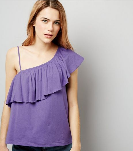 Purple Asymmetric Frill Trim One Shoulder Top | New Look
