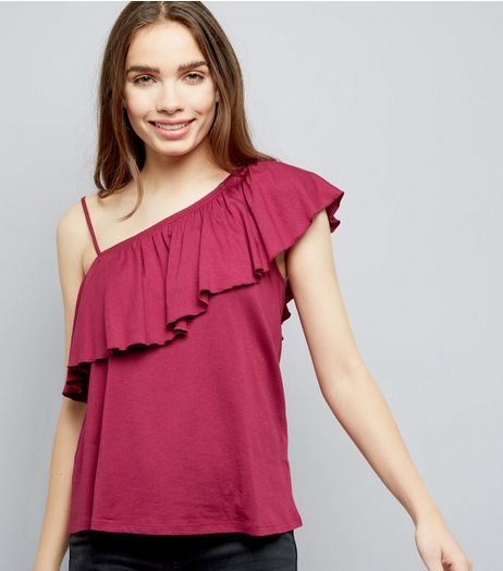 Deep Pink Frill Trim Off The Shoulder Top | New Look