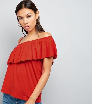 Spicy Orange Frill Trim Off the Shoulder Top