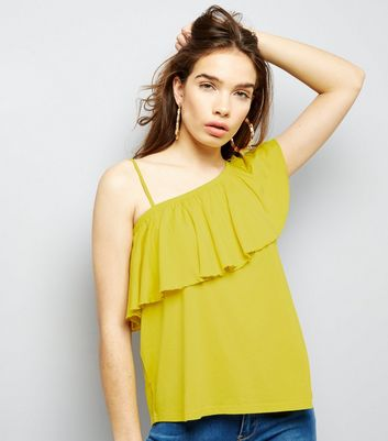 Yellow Off the Shoulder Frill Trim Top