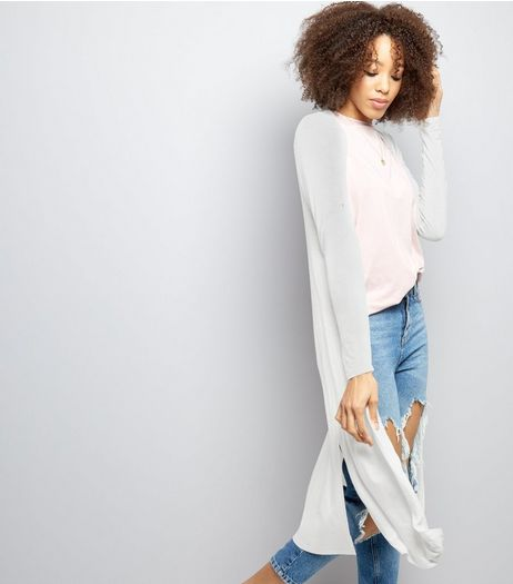 White Split Side Longline Cardigan  | New Look