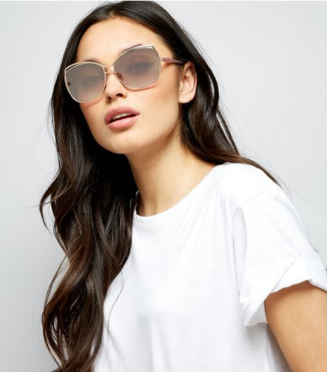 Silver Double Bar Square Sunglasses | New Look