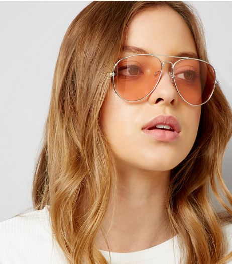 Pink Lens Pilot Glasses | New Look