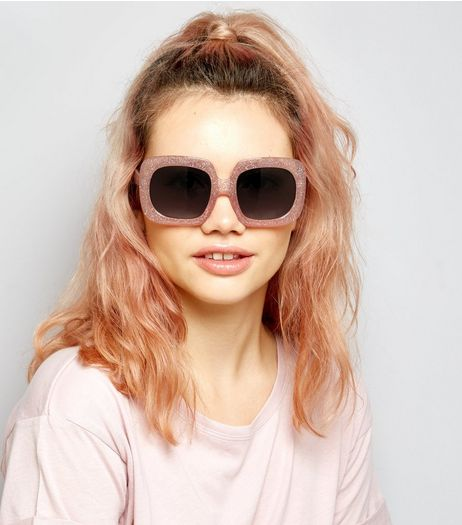Pink Glitter Square Oversized Sunglasses | New Look