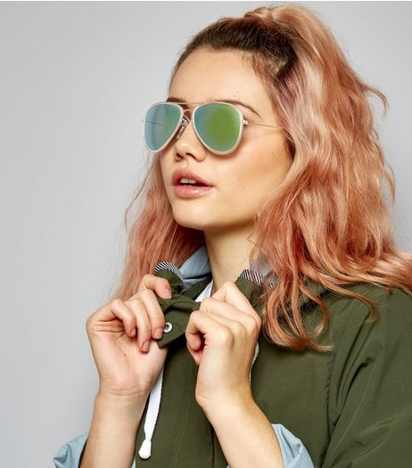 Silver Contrast Lens Pilot Sunglasses | New Look