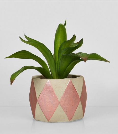 Rose Gold Concrete Artificial Plant Pot | New Look