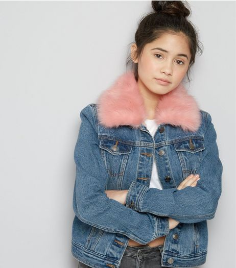 Teens Blue Faux Fur Trim Denim Jacket | New Look