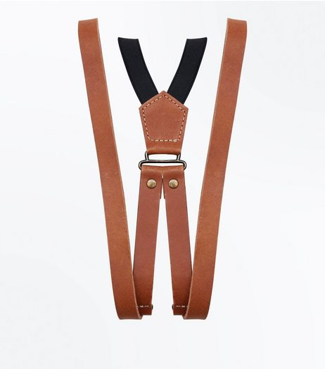 Tan Leather Braces | New Look