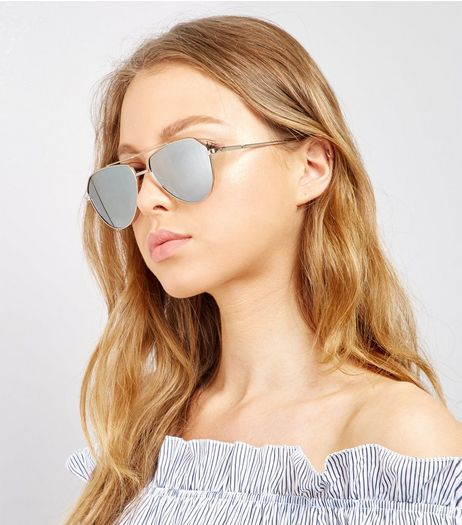 Gold Tear Drop Pilot Sunglasses | New Look
