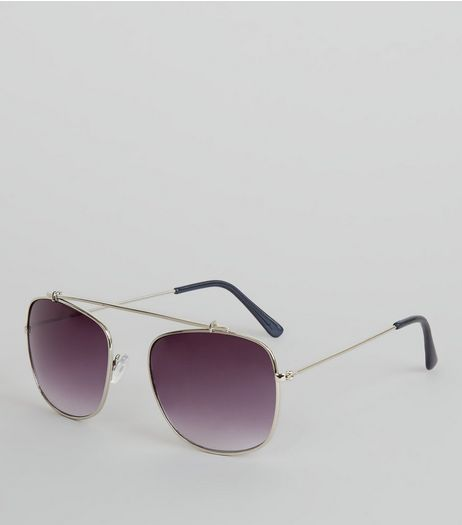 Silver Bridgeless Sunglasses | New Look