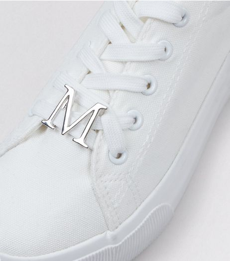 Silver M Initial Shoelace Charm  | New Look