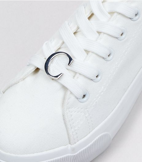 Silver C Initial Shoelace Charm  | New Look