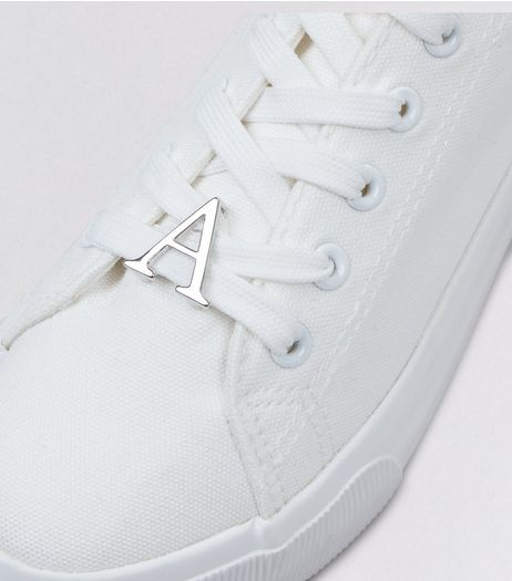 Silver A Initial Shoelace Charm  | New Look