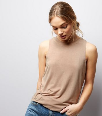 Light Brown Cut Out Back Sleeveless Top