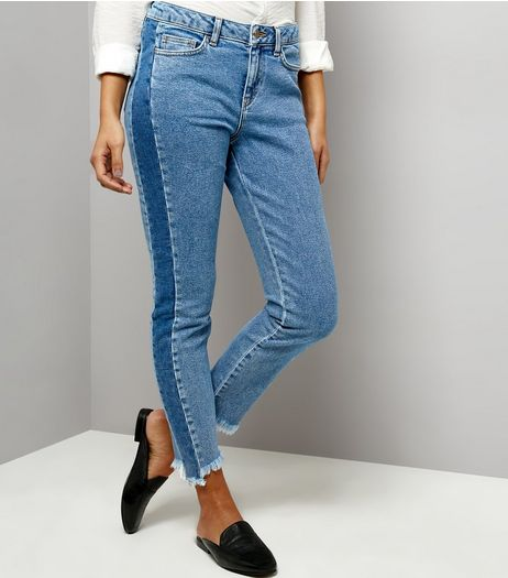 Blue Two Tone Fray Hem Jeans  | New Look