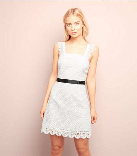 White Scallop Hem Lace Tunic Dress  | New Look