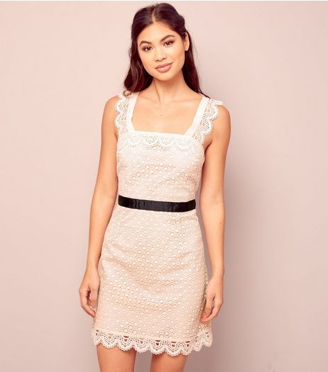 Shell Pink Lace Scallop Hem Mini Dress | New Look