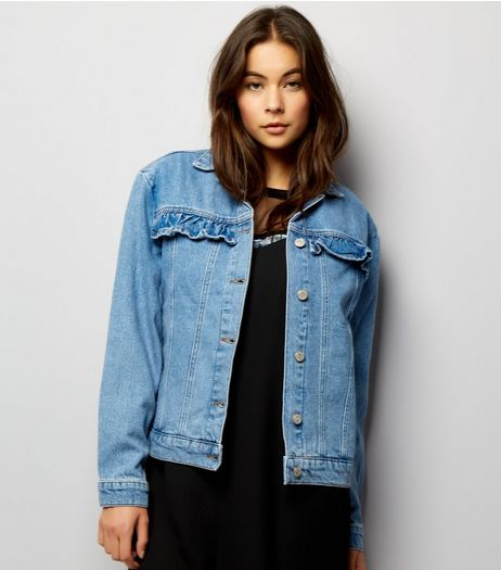 Blue Frill Trim Denim Jacket | New Look
