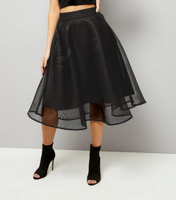 Black Sheer Midi Skater Skirt