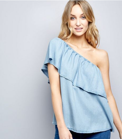 Blue Asymmetric Frill Trim Bardot Neck Top  | New Look