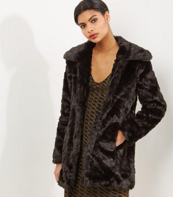 de6a4ff7bbd Black Mink Signature Knee-Length Faux Fur Coat. Fur Coat Fake