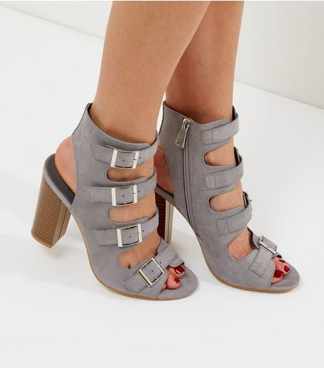 Wide Fit Grey Suedette Multi Buckle Strap Heels | New Look