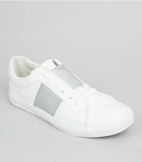 White Metallic Elasticated Strap Trainers | New Look