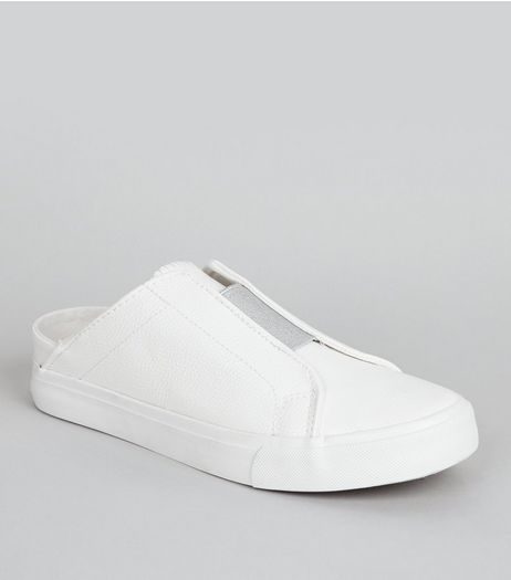 White Elasticated Panel Slip on Trainers  | New Look
