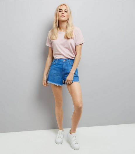 Blue High Waist Fray Hem Denim Shorts | New Look