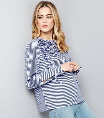 Blue Stripe Tie Sleeve Embroidered Top