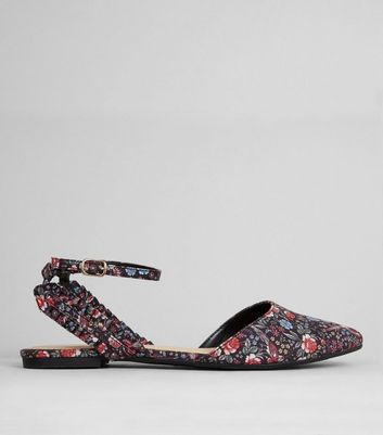 Click to view product details and reviews for Black Floral Print Frill Trim Pointed Pumps.