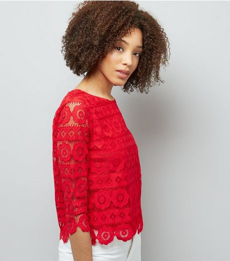 Tall Red Floral Lace Half Sleeve Top | New Look