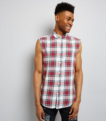 Red Check Chaos Back Print Sleeveless Shirt