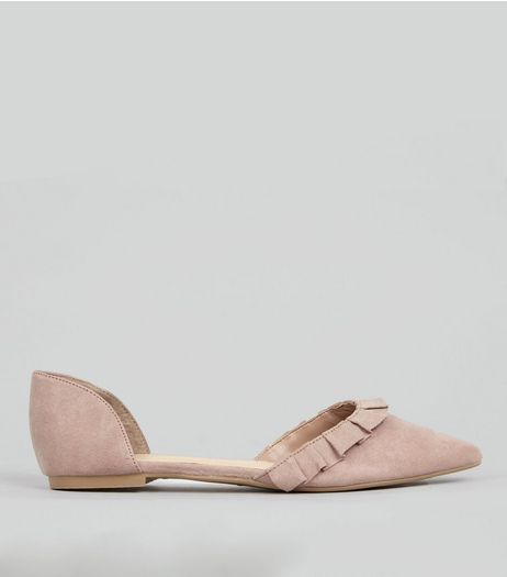 Pink Suedette Frill Trim Pointed Pumps | New Look