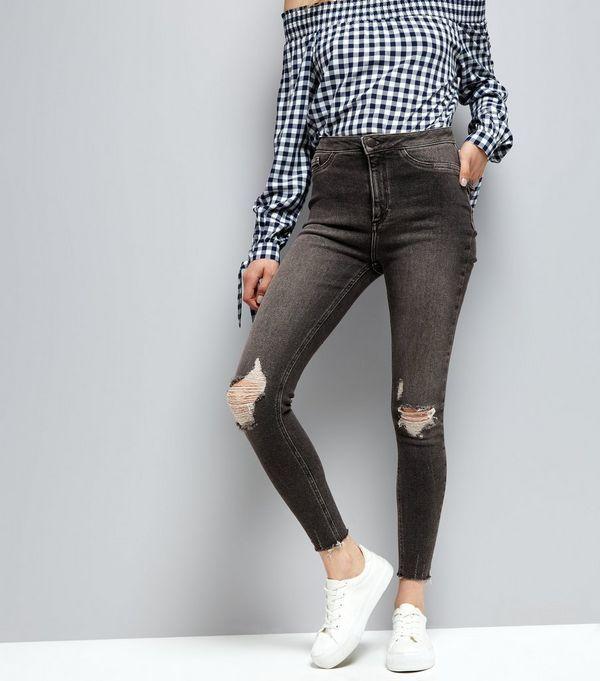 Black Ripped Knee Skinny Hallie Jeans